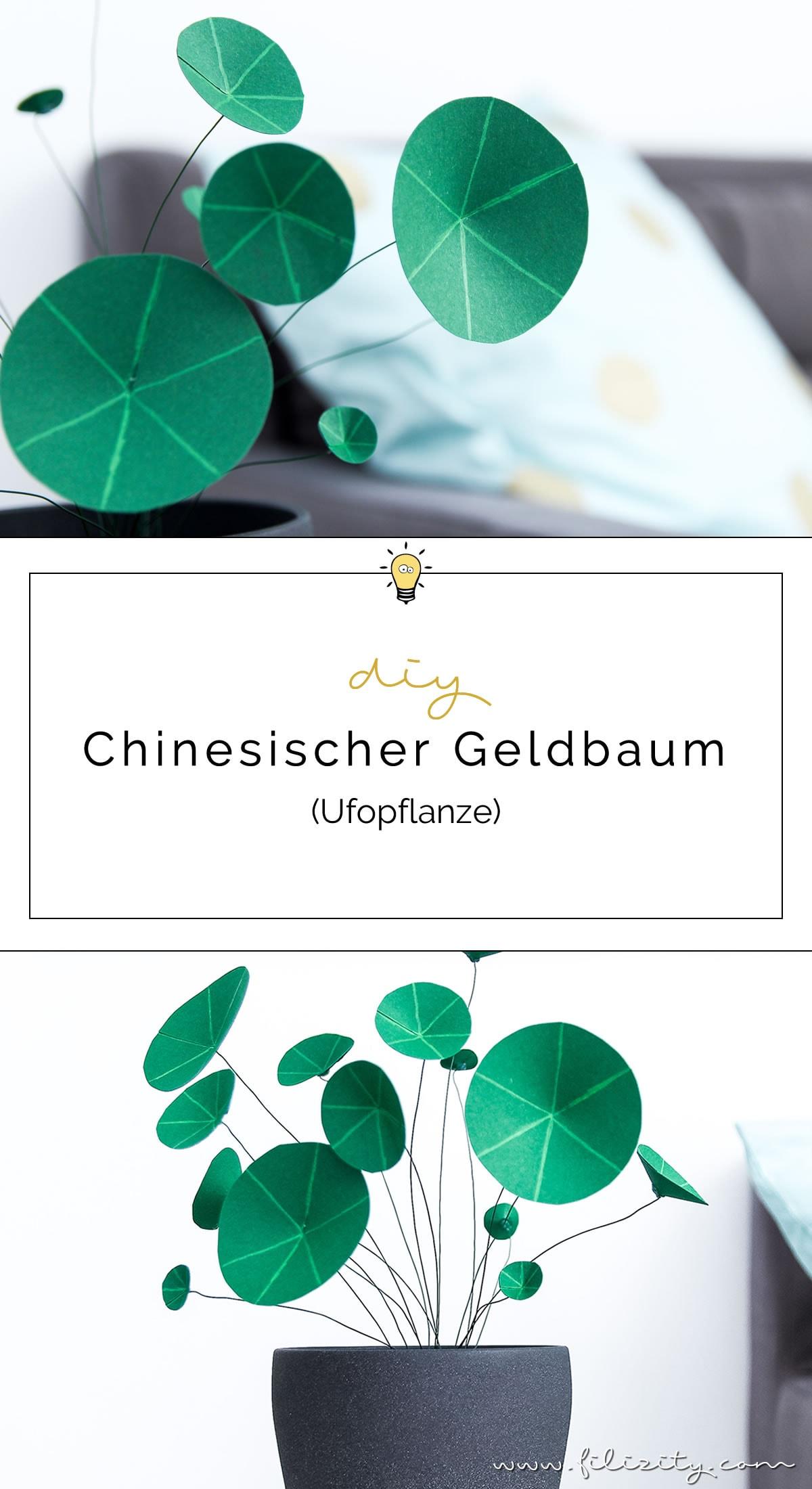 DIY Kunstpflanzen aus Papier: Chinesischer Geldbaum (Ufopflanze) selbermachen