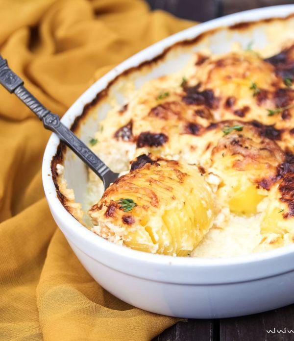 Kartoffelgratin mit Fächerkartoffeln (Hasselback Potatoes)