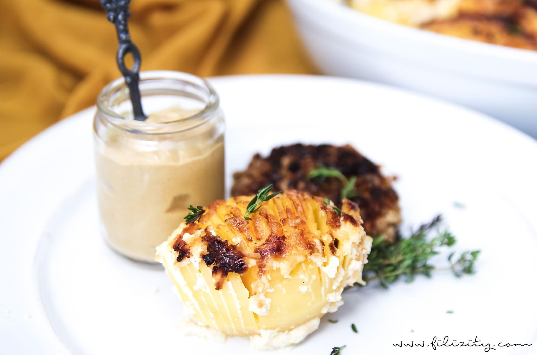 Rezept für Kartoffelgratin mit Fächerkartoffeln (Hasselback Potatoes) - perfekt als Beilage und Party-Food