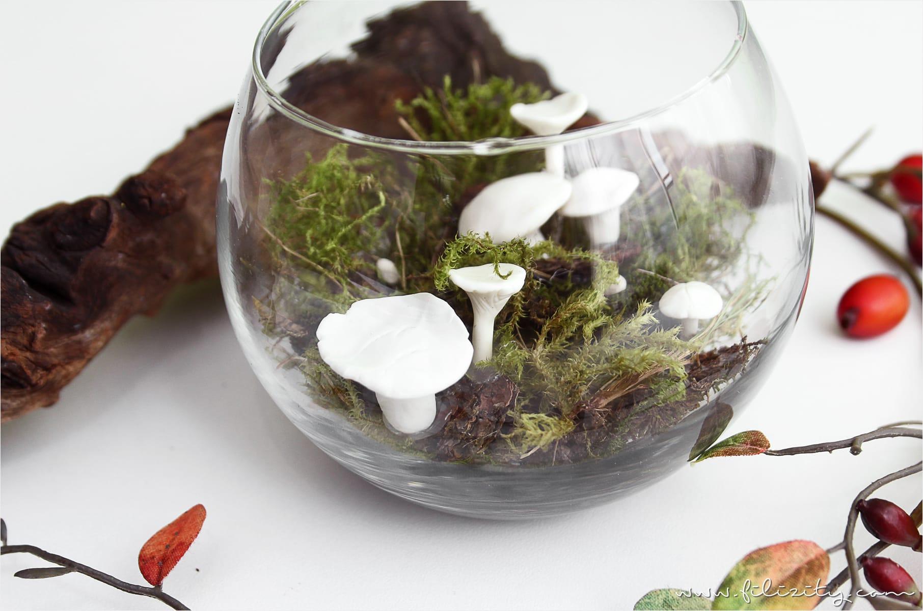 Herbst Im Glas Deko Pilze Aus Kaltporzellan Filizity Com