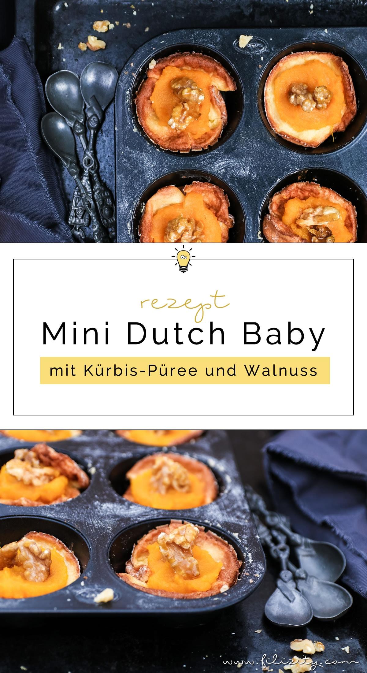 Herbst-Rezept: Mini Dutch Babies (Pfannkuchen-Körbchen) mit Kürbispüree und karamellisierten Walnüssen #dutch #kürbis #herbst