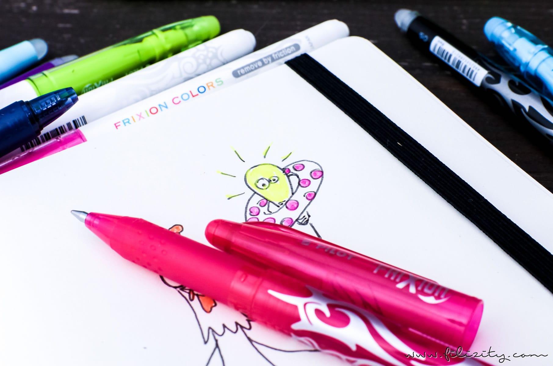 Von verrückten Hühnern und irren Ideen – Ein neues Blogdesign entsteht | Zeichnen mit PILOT FriXion Stiften #frixionfamily #pilot #frixion #design #blog