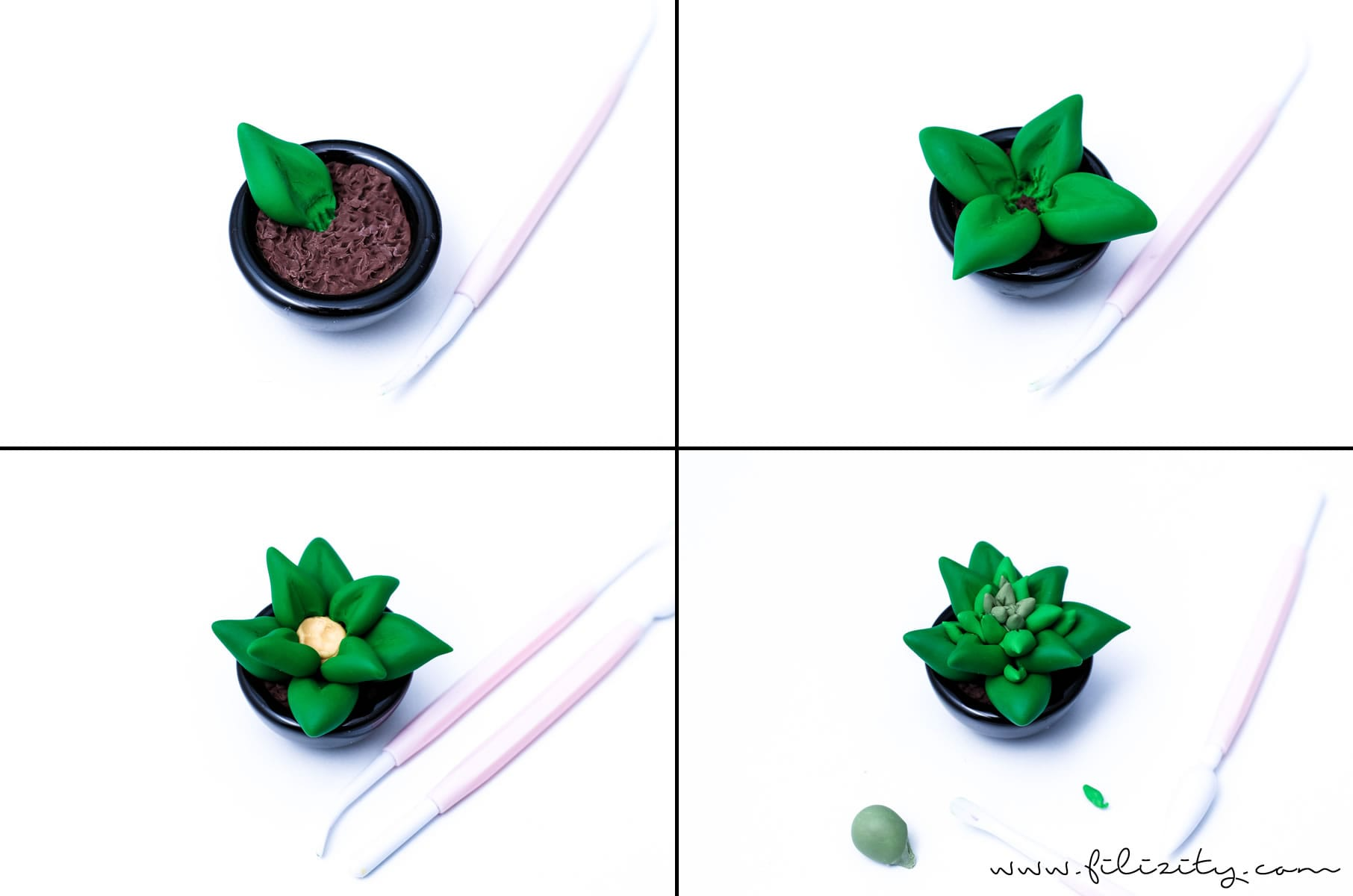 DIY Deko: Sukkulenten modellieren aus Kaltporzellan oder Fimo #kaltporzellan #deko