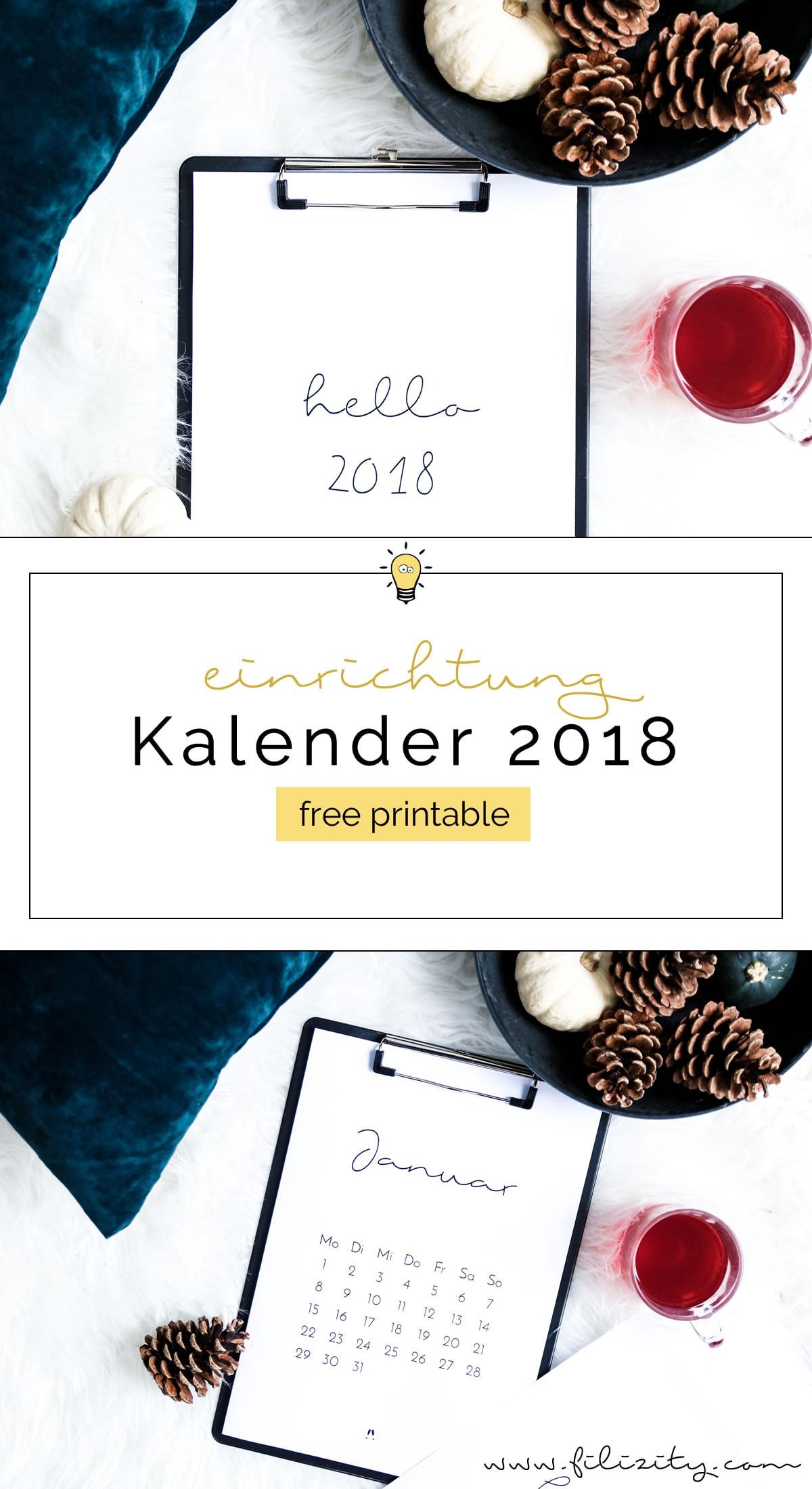 [ Free Printable ] Minimalistischer Kalender für 2018 - Druckvorlage | Filizity.com | Interior-Blog aus Koblenz