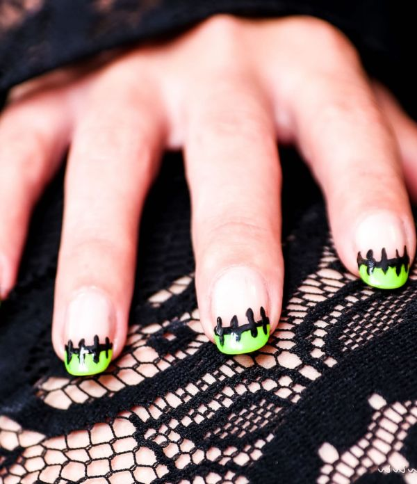 "Flippiges Halloween Nageldesign ""Frankenstein"""
