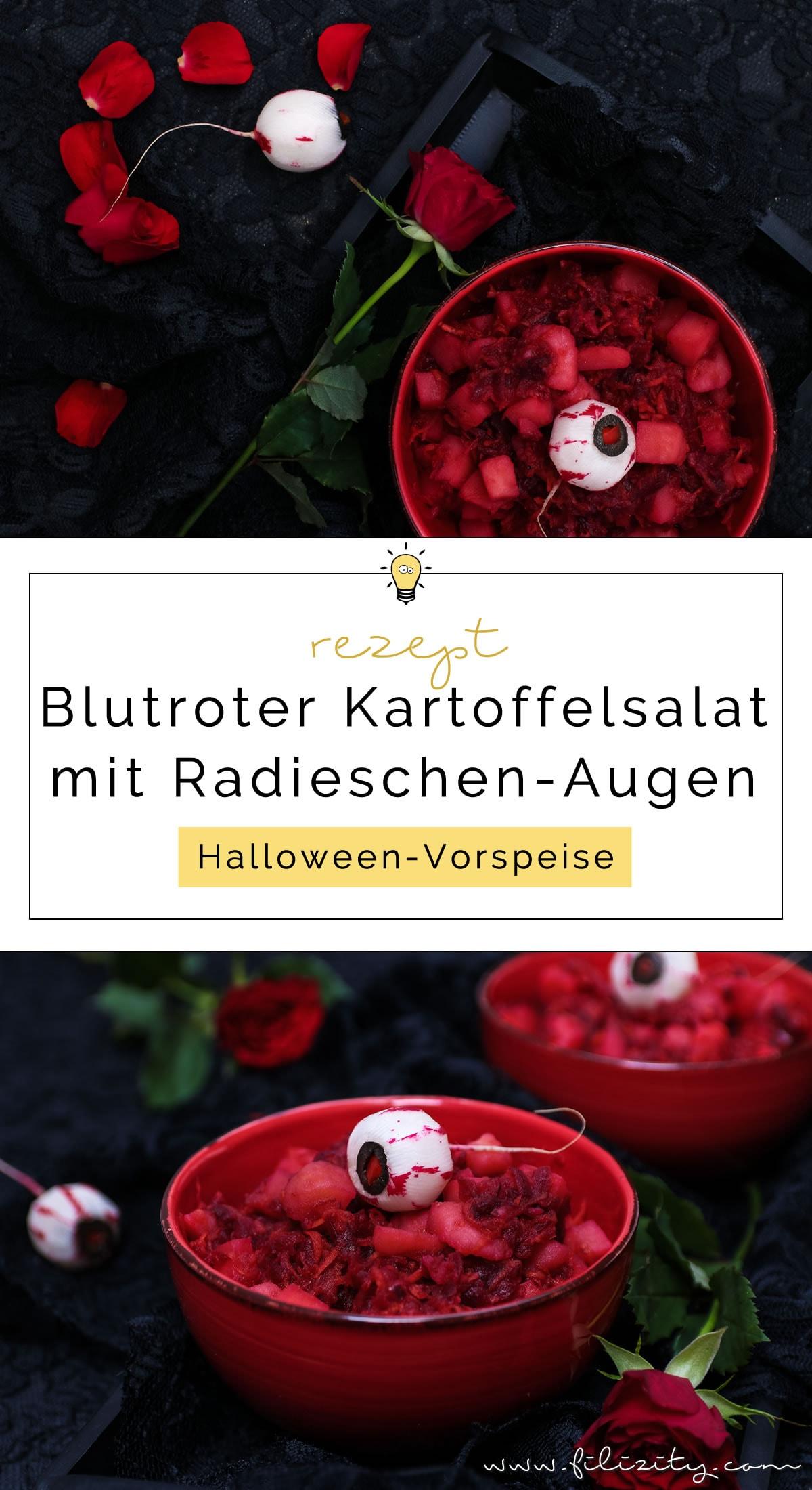 Halloween Rezept: Blutroter Kartoffelsalat mit Radieschen-Augäpfeln als Vorspeise | Filizity.com | Food-Blog aus dem Rheinland #halloween #booh #salat