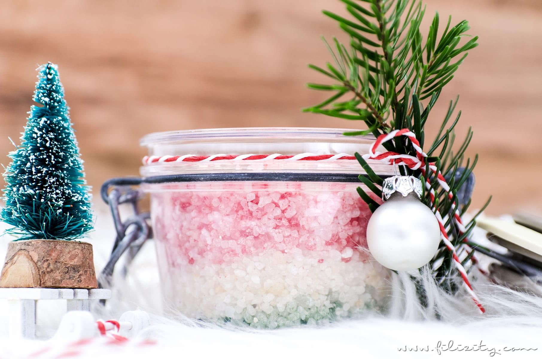 tolle geschenkidee zu weihnachten selbstgemachtes badesalz in weihnachtlichen farben und mit. Black Bedroom Furniture Sets. Home Design Ideas