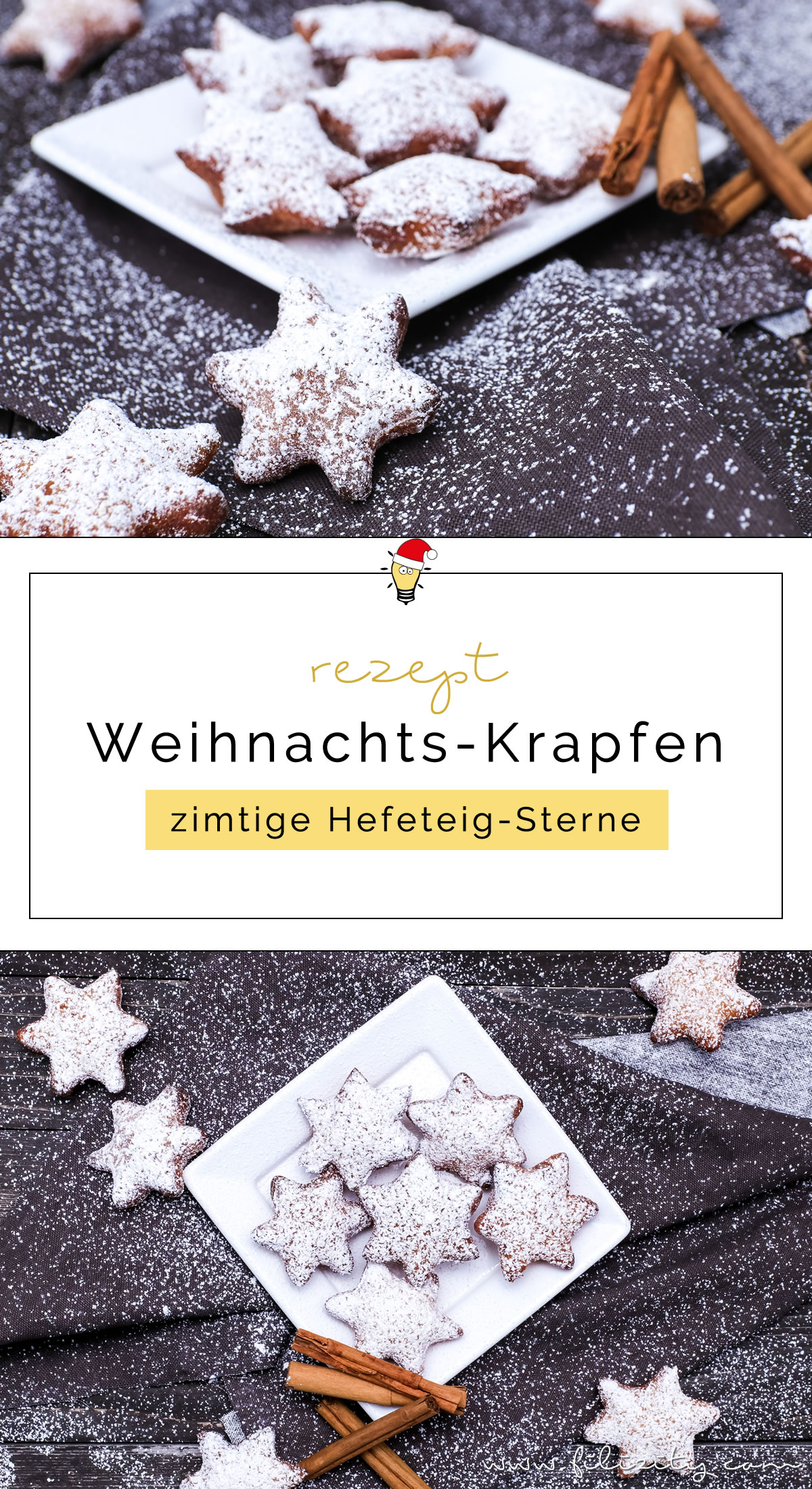 Rezept für Weihnachts-Krapfen – zimtige Hefeteig-Sterne - Weihnachts- und Karnevalsgebäck in einem | Filizity.com | Food-Blog aus dem Rheinland #karneval #krapfen #weihnachten