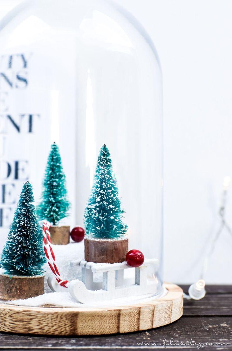 Easy Peasy Weihnachtsdeko Diy Winterwonderland Unter Der Glasglocke