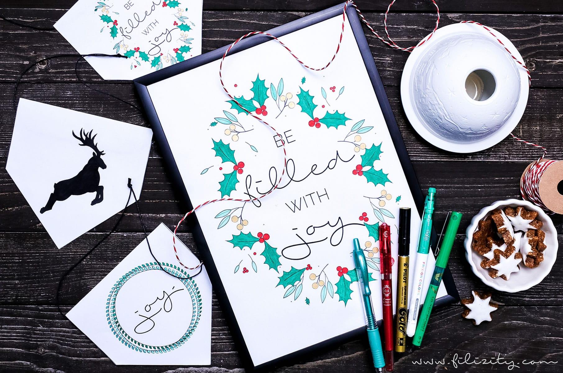 Weihnachtsdeko und Geschenk-Anhänger – Printables zum Ausmalen