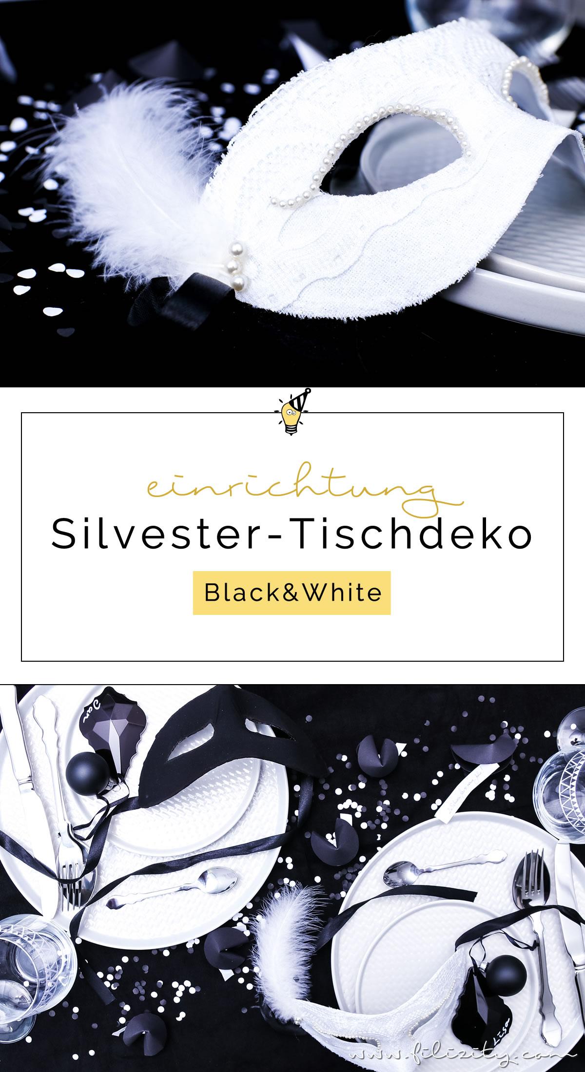 black white party und tischdeko f r silvester interior blog aus dem rheinland. Black Bedroom Furniture Sets. Home Design Ideas