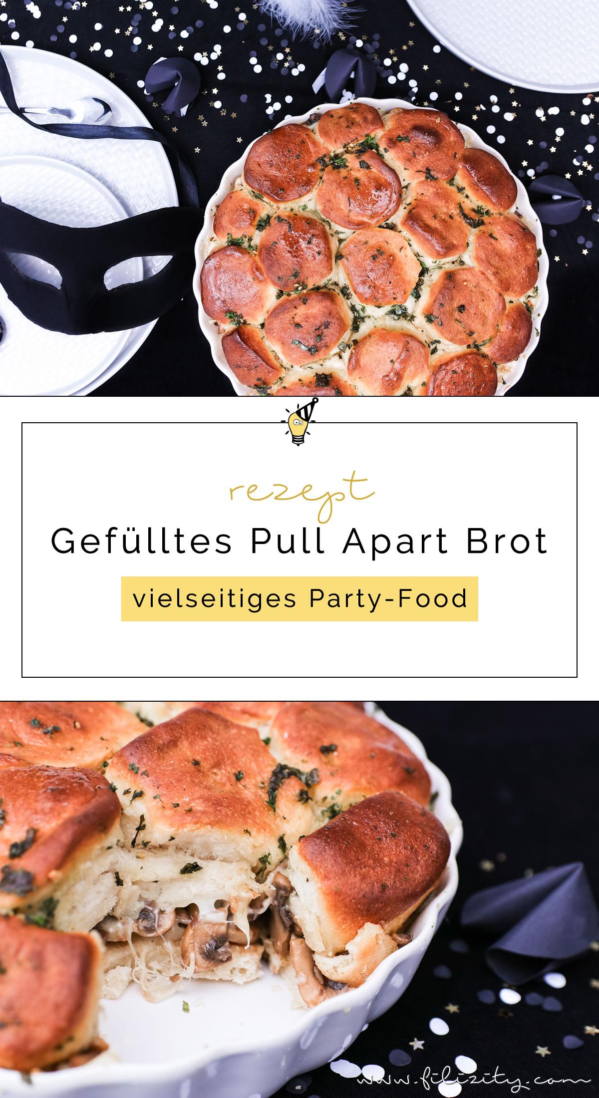 Schnelles Party-Rezept für Silvester: Gefüllte Pull Apart Brote | vegetarisch oder mit Fleisch | Filizity.com | Food-Blog aus dem Rheinland #partyfood #fingerfood #silvester #nye