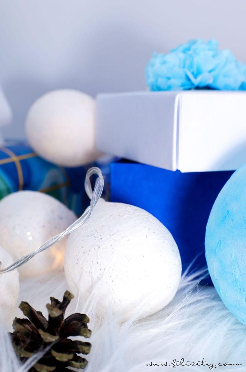 f r mehr gem tlichkeit in der weihnachtszeit diy lichterkette mit taschentuch lampenschirmen. Black Bedroom Furniture Sets. Home Design Ideas