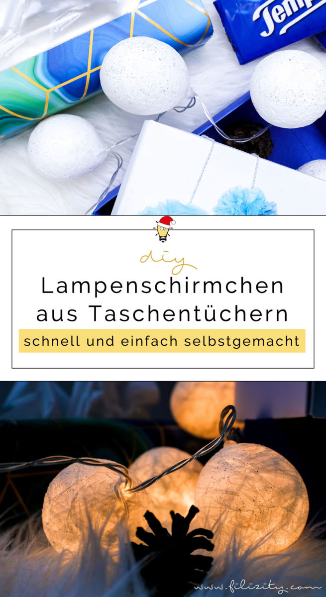 f r mehr gem tlichkeit in der weihnachtszeit diy lichterkette mit taschentuch lampenschirmen. Black Bedroom Furniture Sets. Home Design Ideas