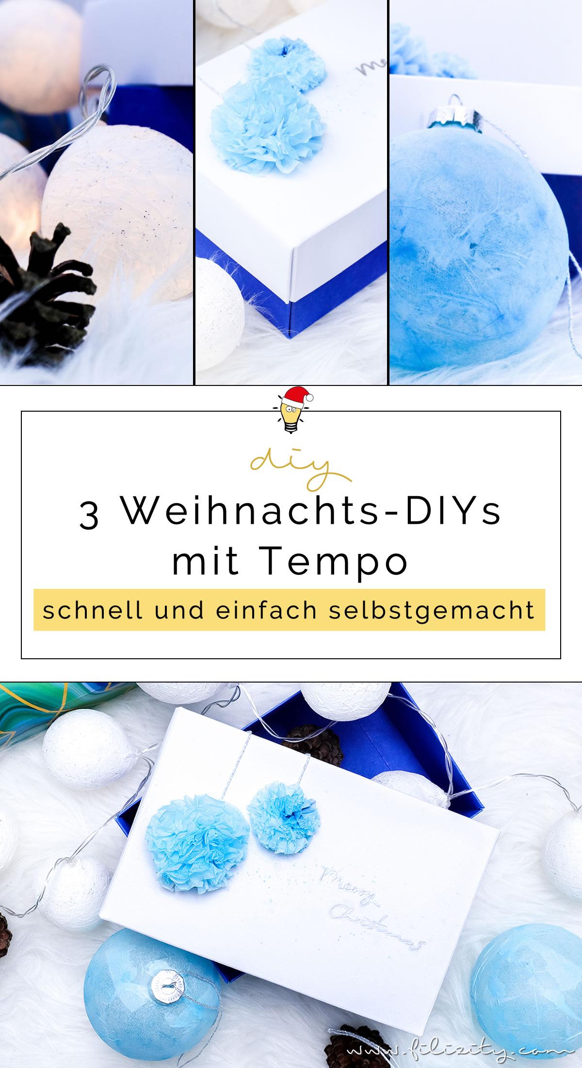 3 weihnachtliche DIY-Ideen mit Taschentüchern | Lichterkette, Christbaumkugeln mit Serviettentechnik & Geschenkverpackung mit Bommeln selber machen | Filizity.com | DIY-Blog aus dem Rheinland #weihnachten #tempo