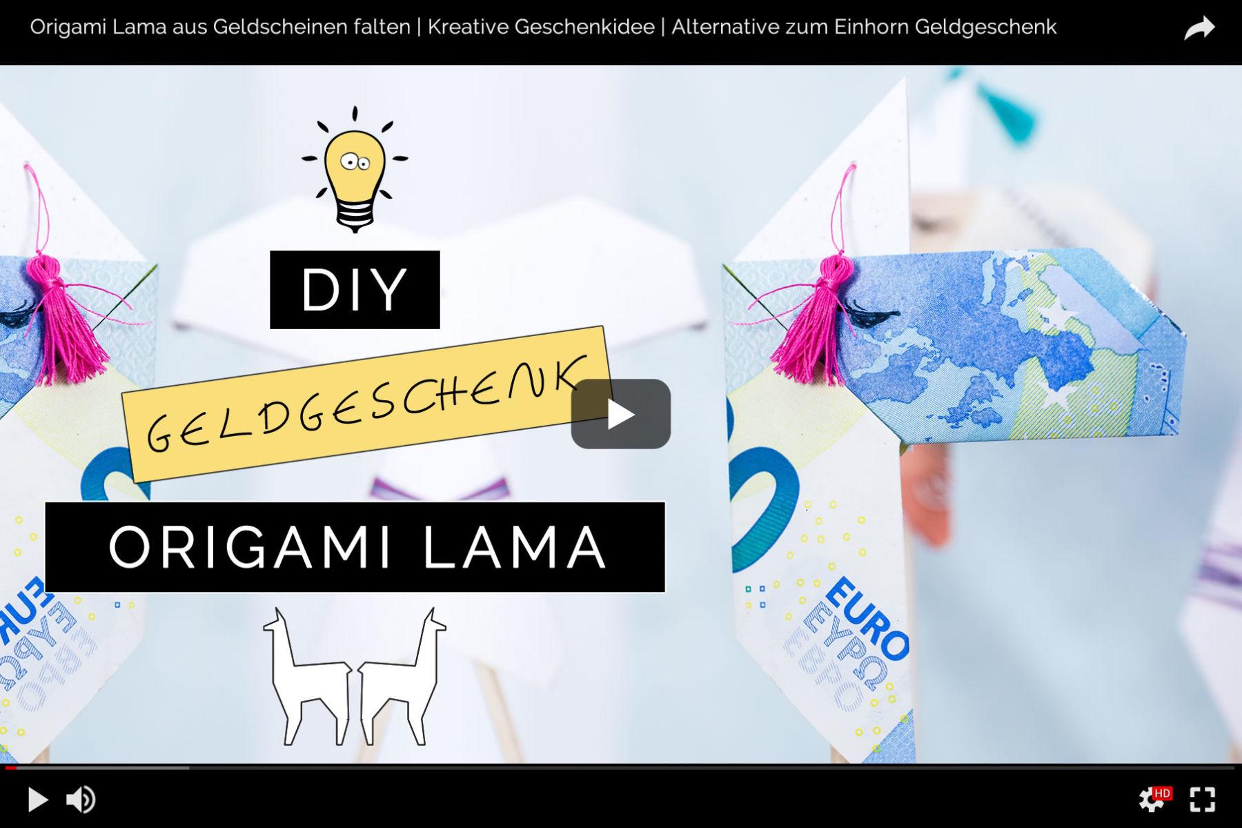 Originelle Idee Fur Geldgeschenke Origami Lamas Aus Geldscheinen