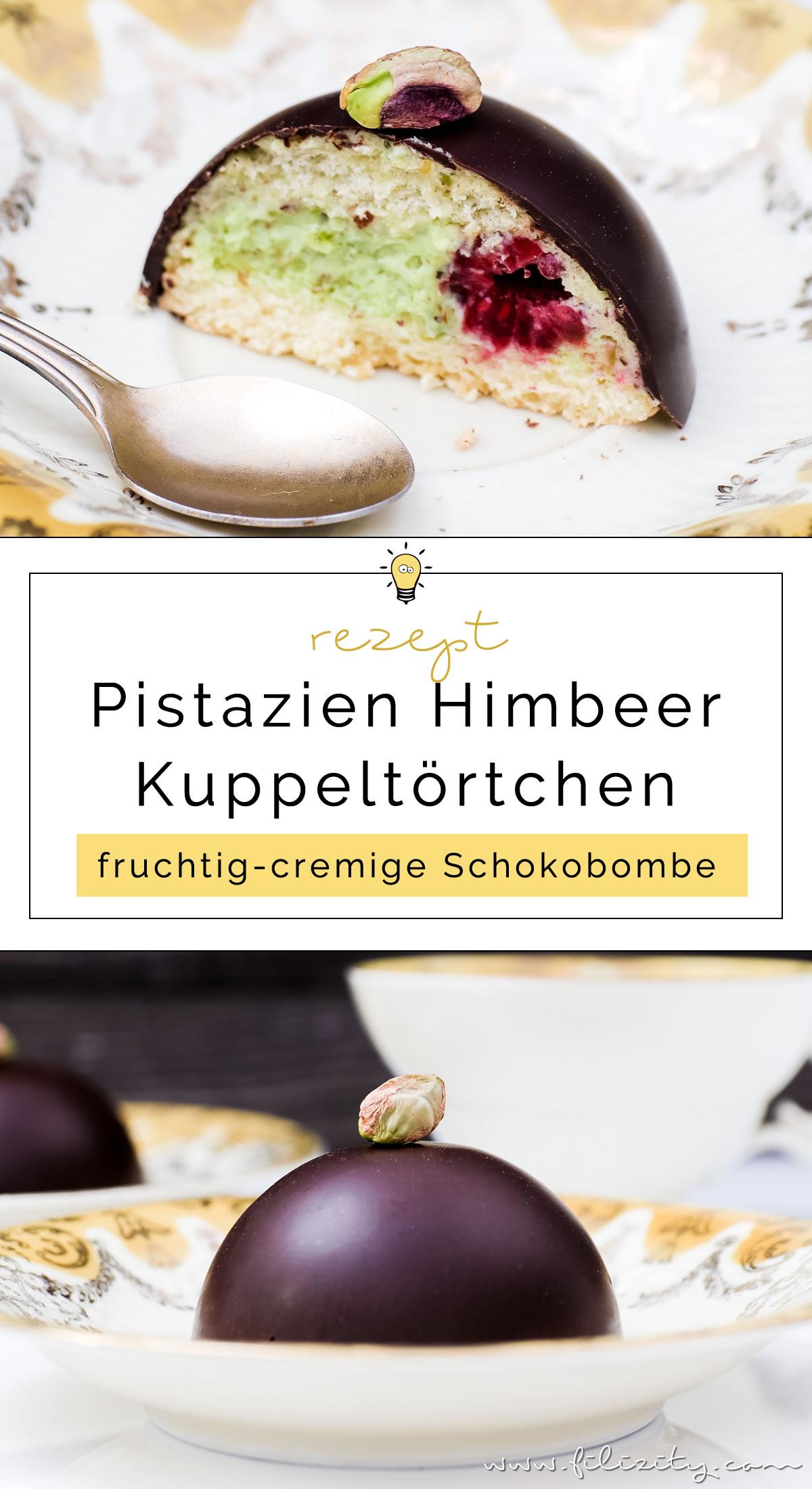 Pistazien-Törtchen mit Himbeeren | Feine Schoko-Kuppel mit Pistaziencreme und Bikuit | Filizity.com | Food-Blog aus dem Rheinland #dessert #kuchen #schokolade