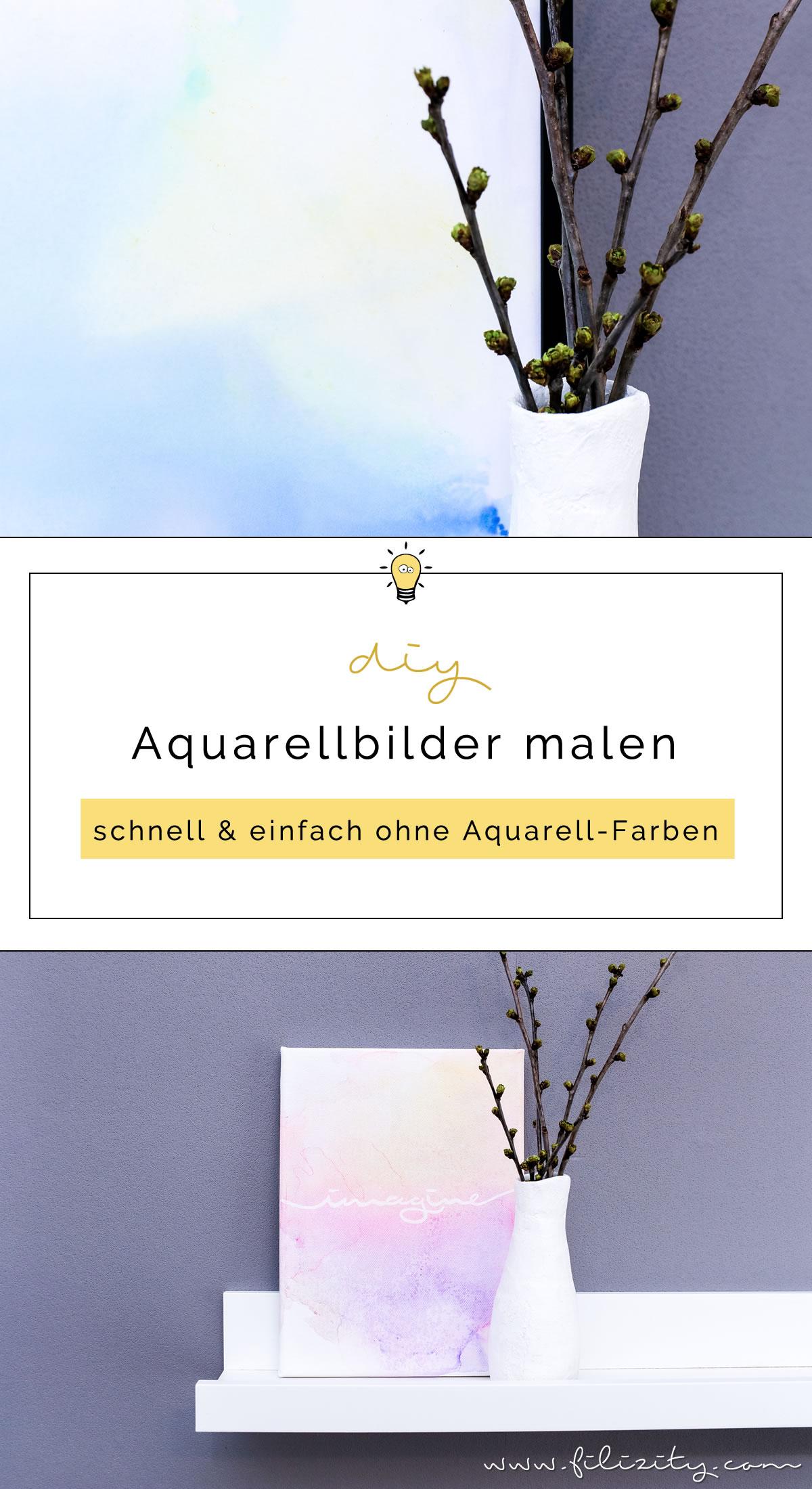 Abstrakte Aquarell-Bilder malen - Schnell & einfach ohne Aquarellfarben | DIY Deko mit Aquarell | Filizity.com | Interior- & DIY-Blog aus dem Rheinland #aquarell #malen #handlettering