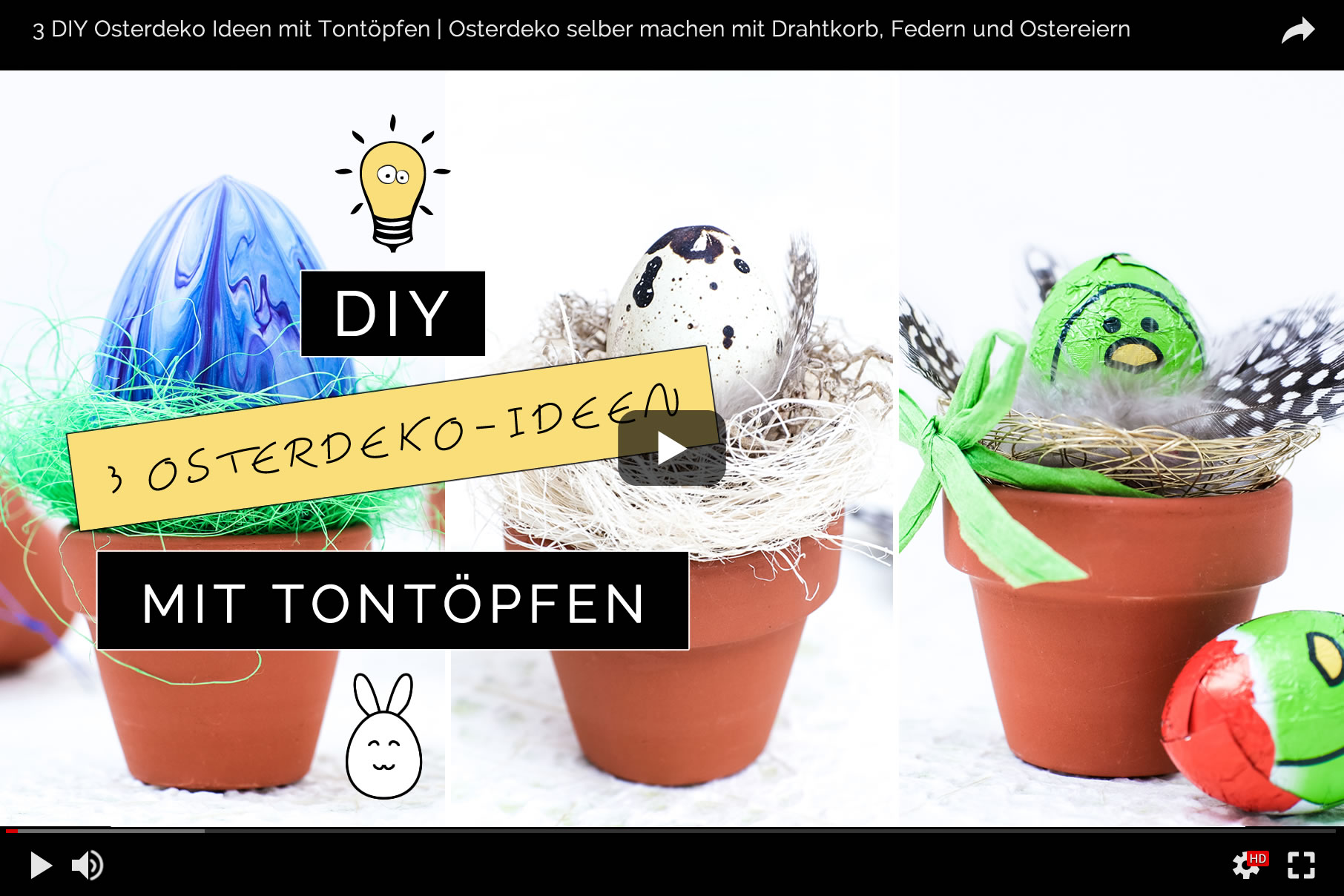 3 DIY Osterdeko Ideen mit Tontöpfen zum Selbermachen | Osterdeko mit Wachtelei, Federn, Schoko-Eiern und Drahtkorb | Filizity.com | DIY & Interior-Blog aus dem Rheinland #ostern #osterdeko