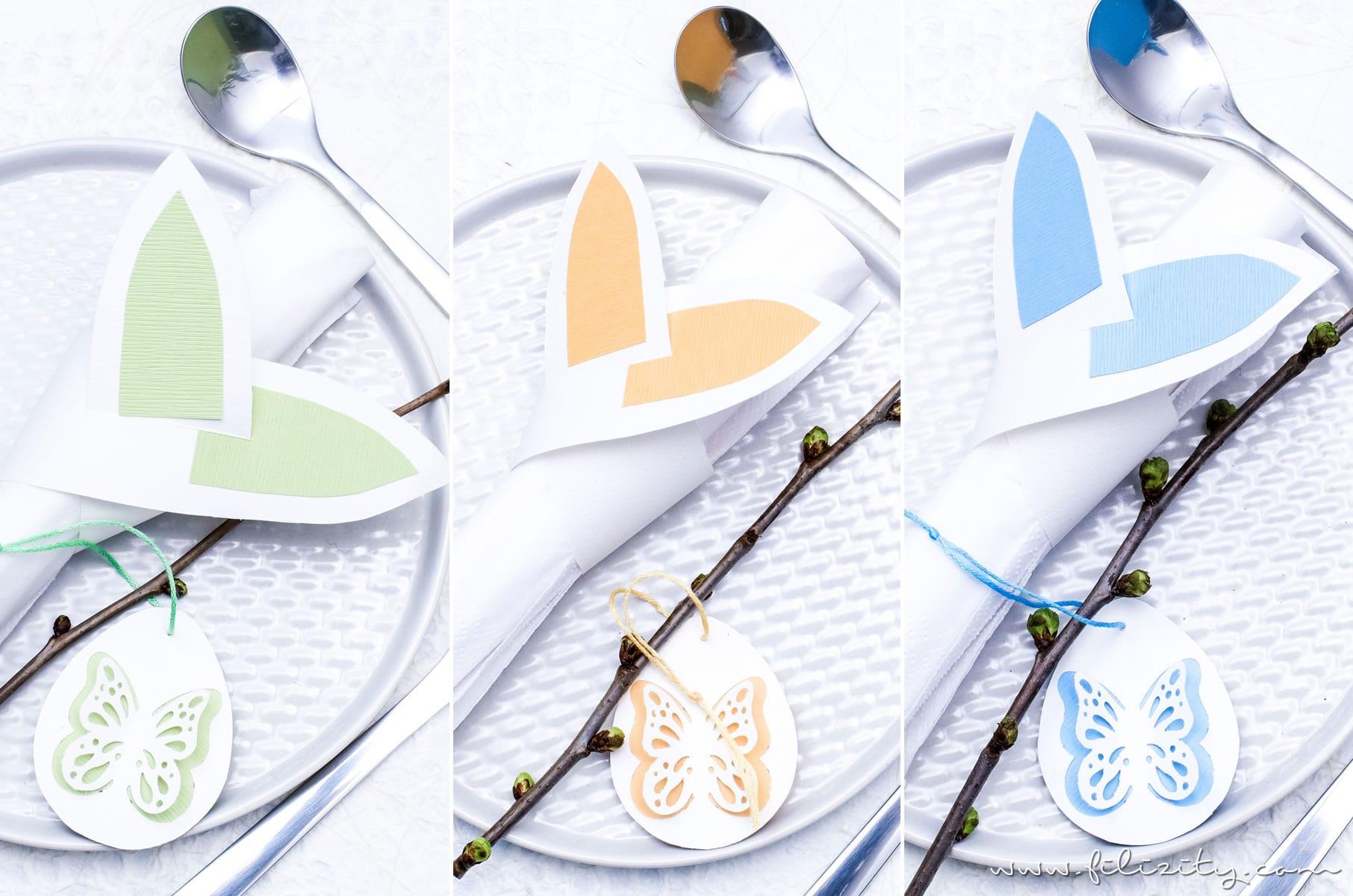 Papier Selber Machen osterei anhänger mit cutouts osterkorb serviettenringe mit