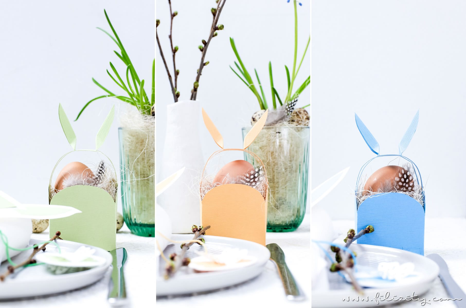3 DIY Osterdeko Ideen mit Papier selber machen | Osterkorb mit Hasenohren, Osterei-Anhänger, Serviettenringe mit Hasenohren | Filizity.com | DIY-Blog aus dem Rheinland #ostern #osterdeko #artoz