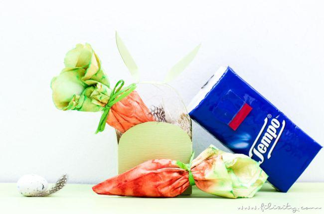 Ostergeschenke verpacken: DIY Taschentuch-Möhrchen mit Tempo
