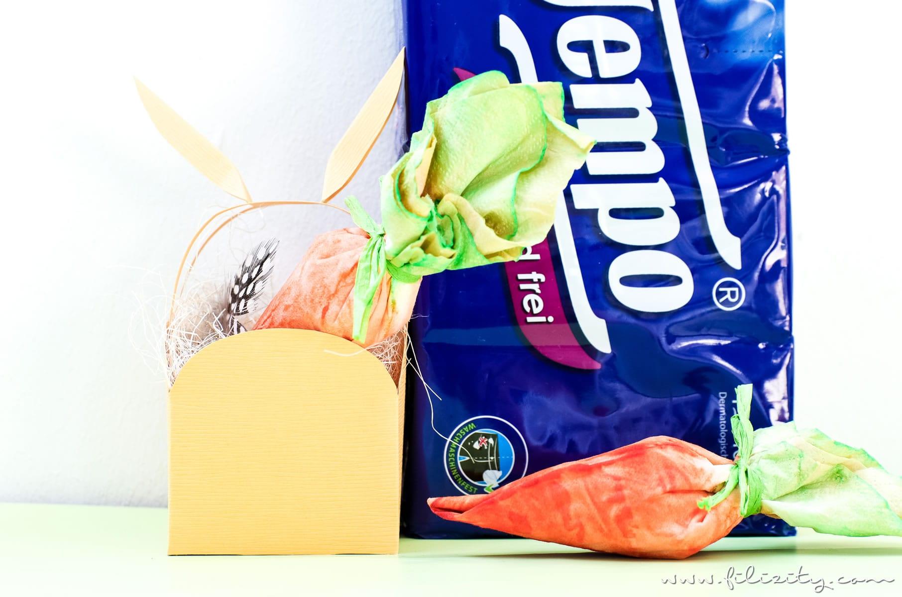 Ostergeschenke verpacken mit DIY Möhrchen-Geschenkverpackung aus Tempo Taschentüchern   Kreative Geschenkverpackung selber machen   Filizity.com   DIY-Blog aus dem Rheinland #tempoworld #tempo #ostern