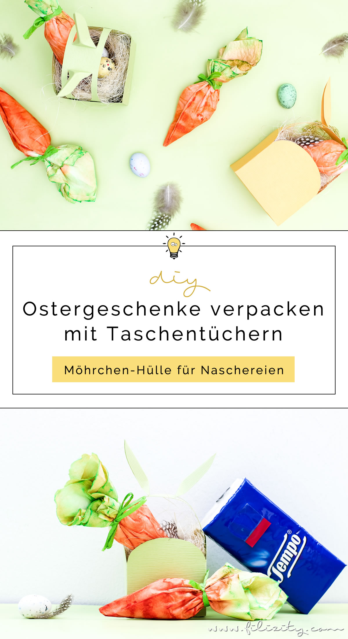 Ostergeschenke verpacken mit DIY Möhrchen-Geschenkverpackung aus Tempo Taschentüchern | Kreative Geschenkverpackung selber machen | Filizity.com | DIY-Blog aus dem Rheinland #tempoworld #tempo #ostern