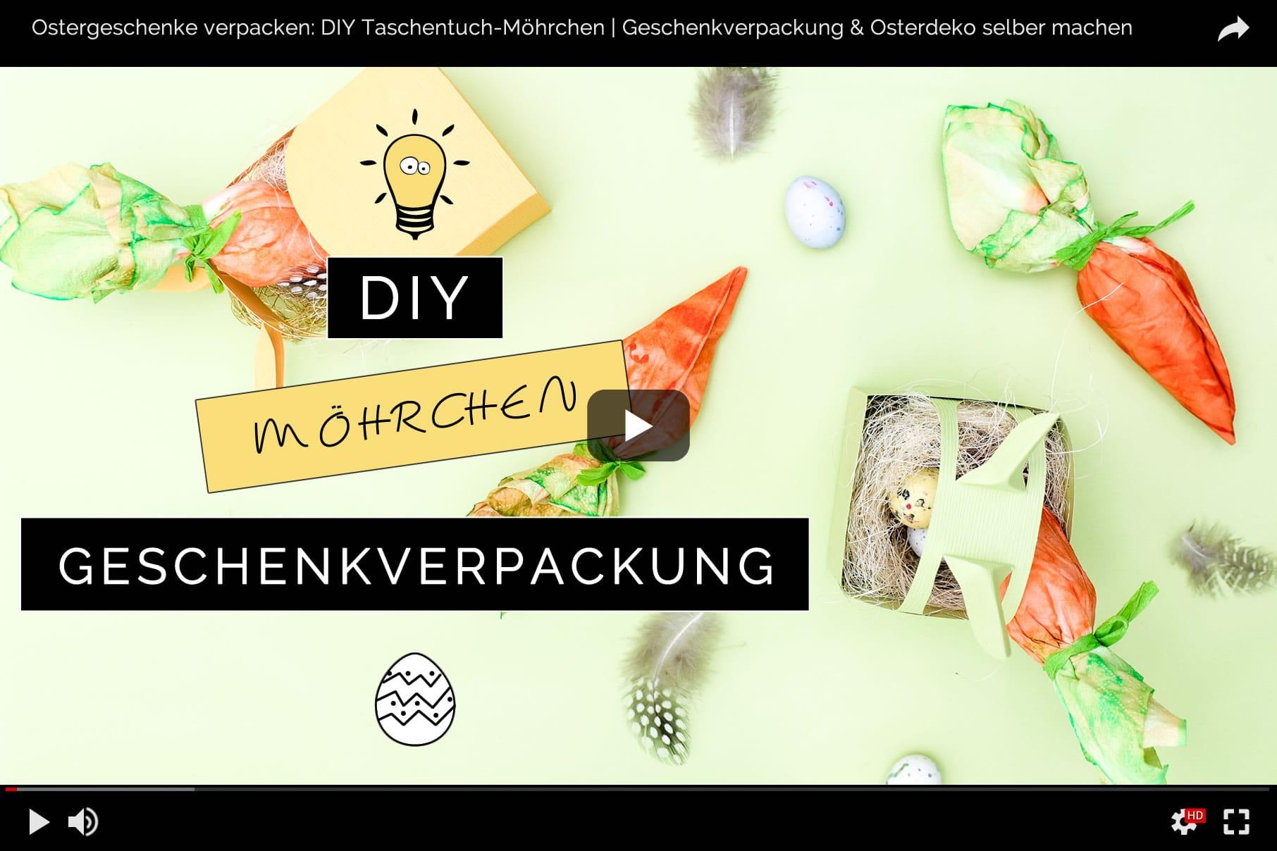 Video-Anleitung zu: Ostergeschenke verpacken mit DIY Möhrchen-Geschenkverpackung aus Tempo Taschentüchern | Kreative Geschenkverpackung selber machen | Filizity.com | DIY-Blog aus dem Rheinland #tempoworld #tempo #ostern