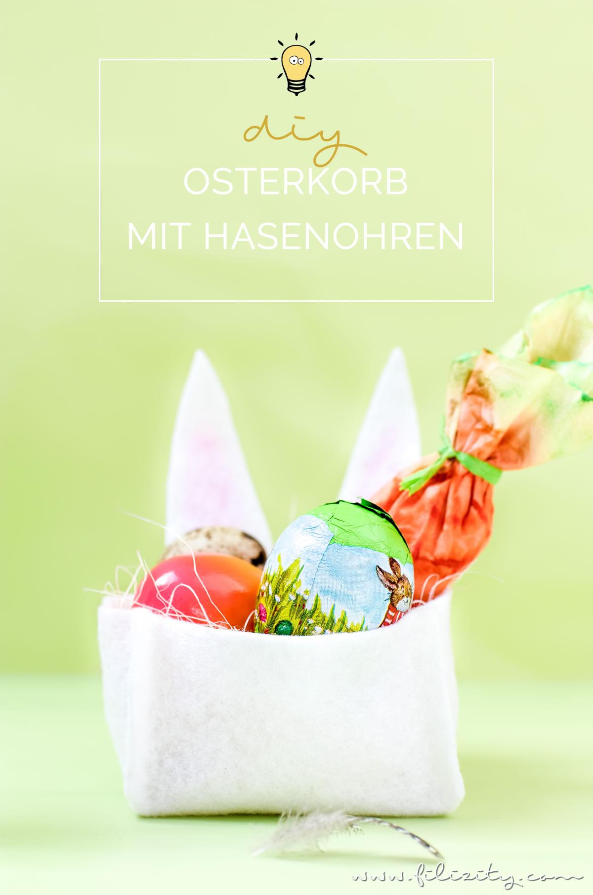 Filz-Osterkorb basteln ohne Nähen | DIY Filzkorb mit Hasenohren (inkl. Schnittmuster) für die Ostereiersuche oder als Osterdeko | Filizity.com | DIY-Blog aus dem Rheinland #ostern #ostergeschenke #osterhase