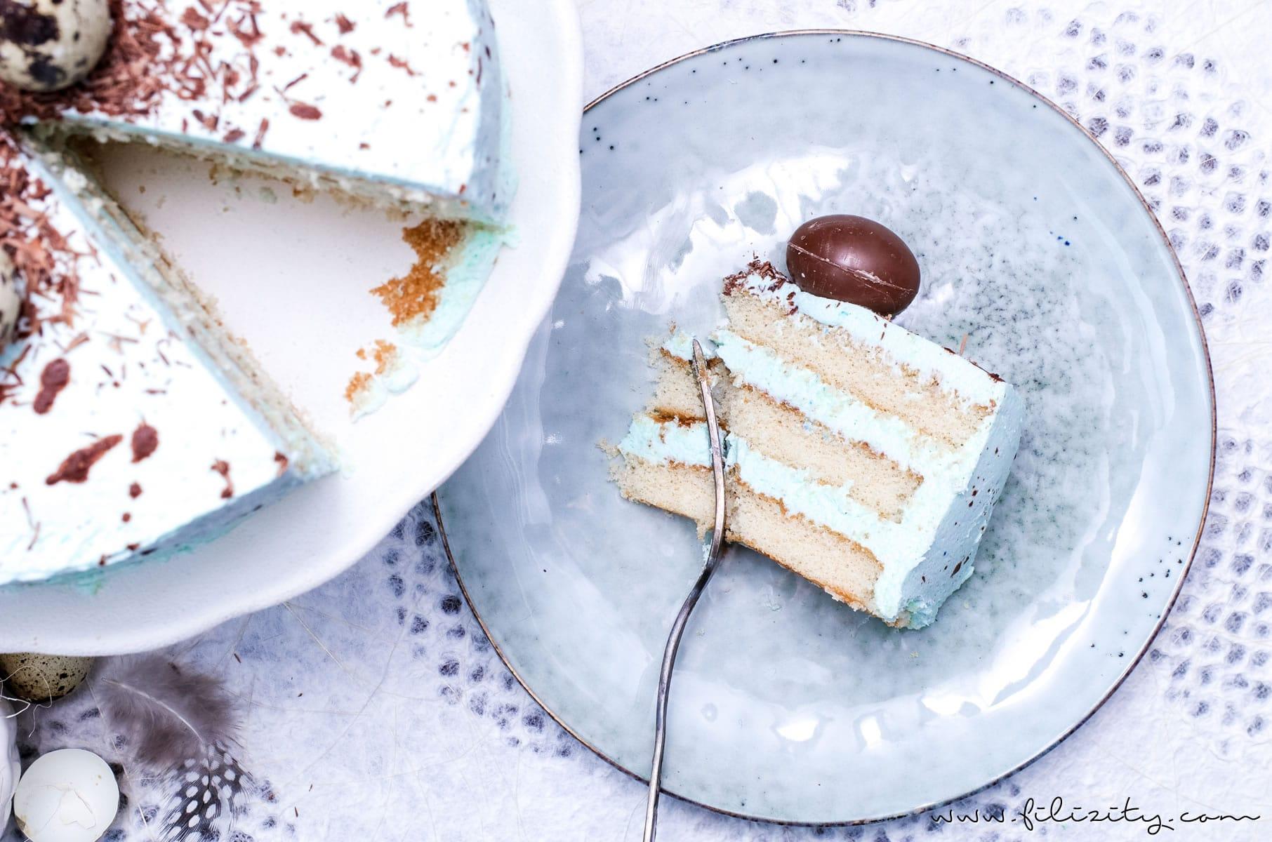 Rezept für eine Gesprenkelte Vanille-Nougat-Torte - perfekt für Ostern | Filizity.com | Food-Blog aus dem Rheinland #ostern #osterrezepte #ostereier