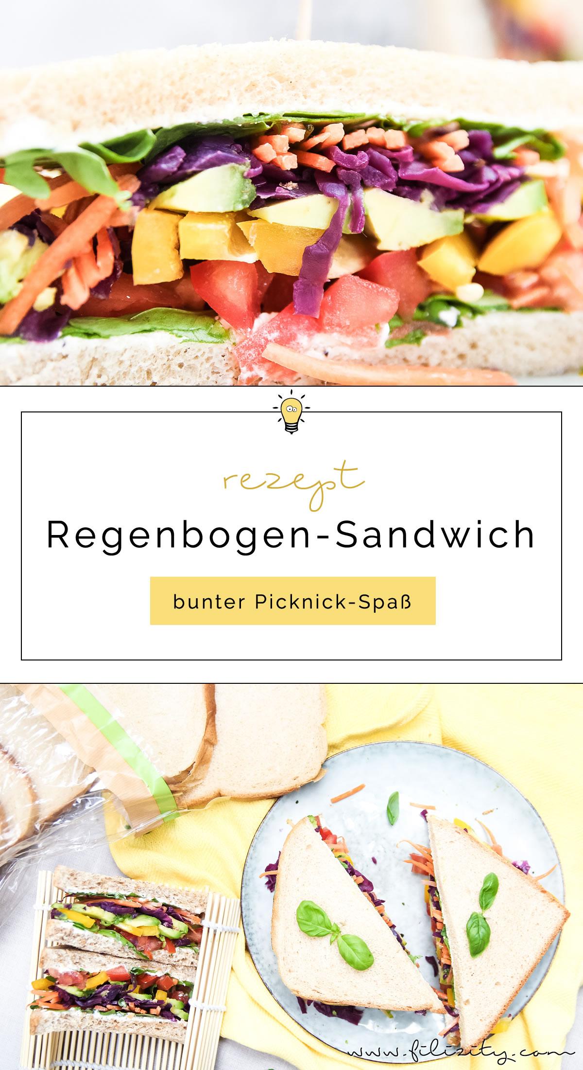 Rezept für Regenbogen-Sandwich - Vegetarischer Picknick Snack, Party-Food, Büro-Mahlzeit oder Pausenbrot | Filizity.com | Food-Blog aus dem Rheinland #sandwich #picknick