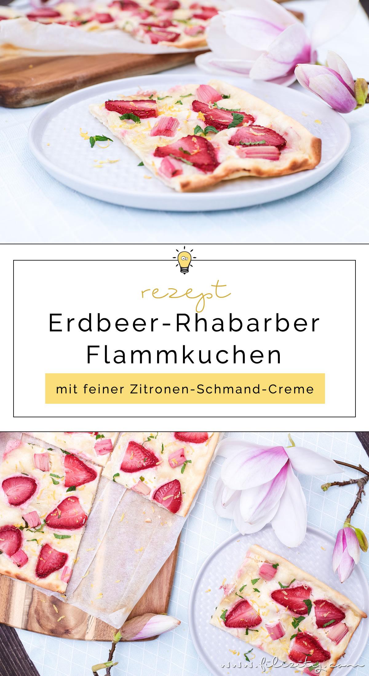 Erdbeer-Rhabarber-Flammkuchen - Schnelles Rezept | Filizity. Kreativmagazin & Food-Blog #rhabarber #flammkuchen #erdbeeren