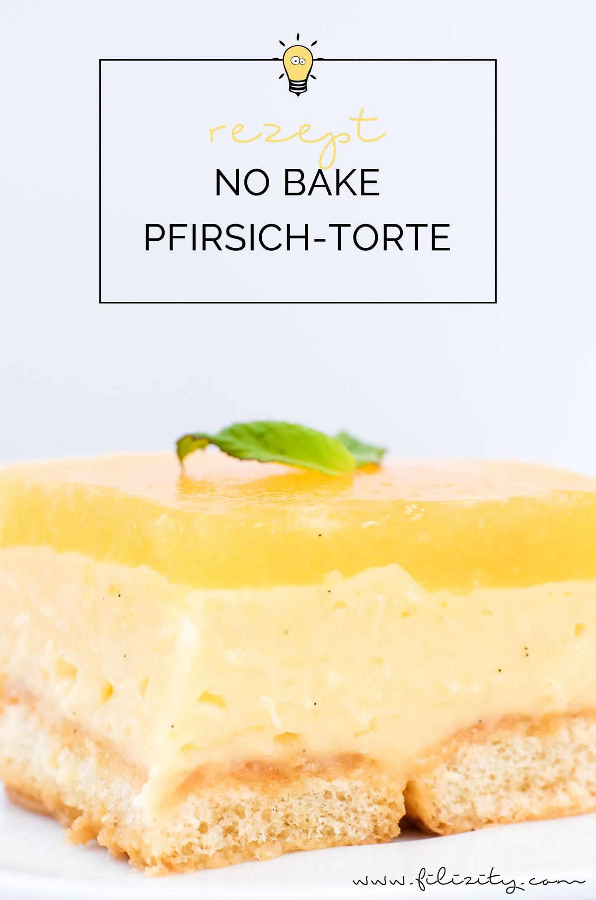 Rezept No Bake Torte: Pfirsich-Vanille-Torte ohne Backen | Perfekt für Geburtstage, Partys, Ostern, Frühling & Sommer | Filizity.com | Food-Blog aus dem Rheinland #frühling #sommer #nobake