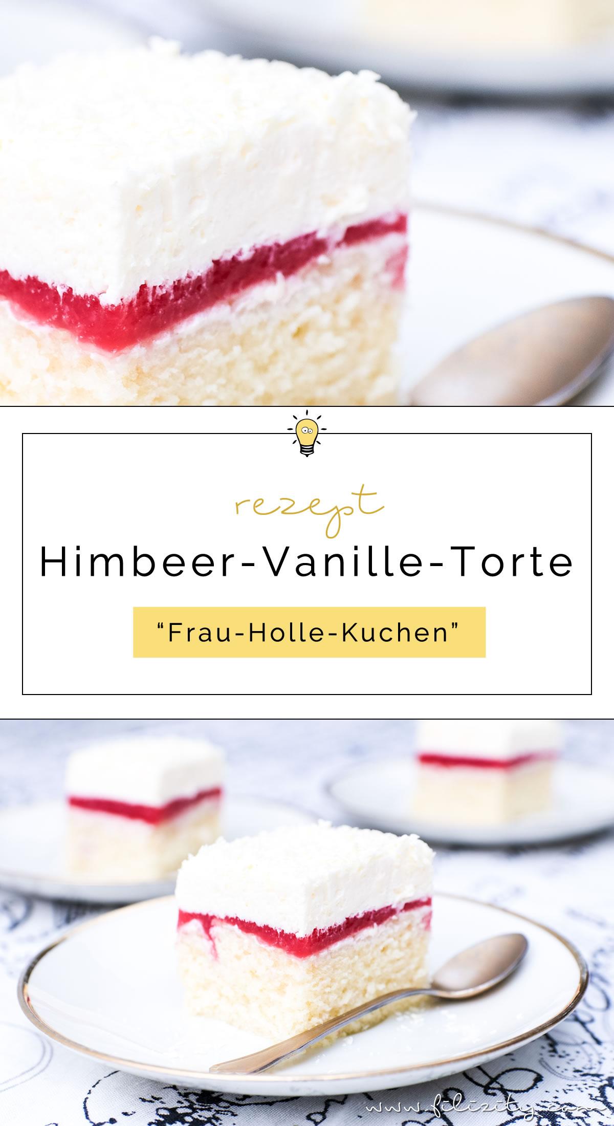 Rezept für Himbeer-Vanille-Torte (Frau Holle Kuchen) | Einfacher Blechkuchen | Filizity.com | Food-Blog aus dem Rheinland #torte #kuchen