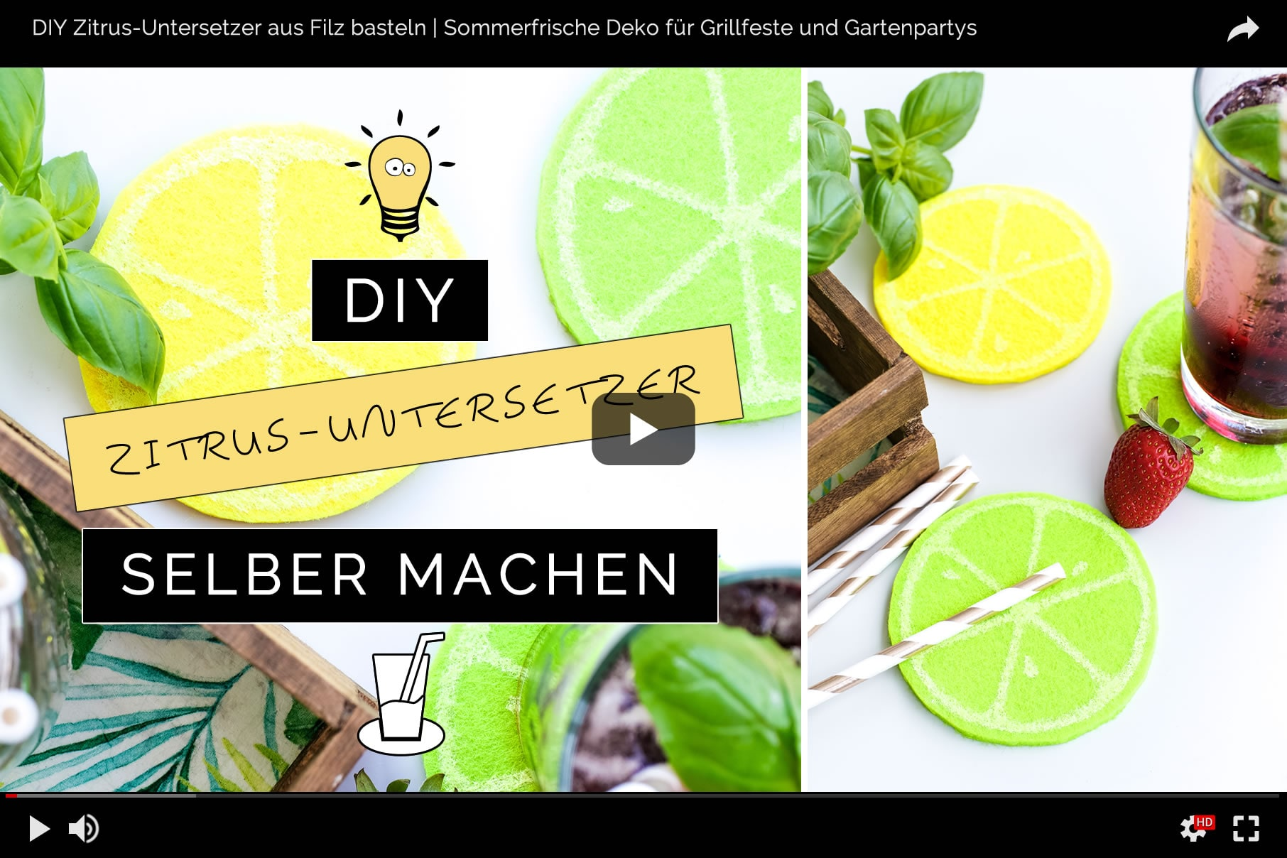 DIY Zitrus-Untersetzer aus Filz basteln | Sommerfrische Deko für Grillfeste und Gartenpartys schnell und einfach selbst gemacht! | Filizity.com | DIY-Blog aus dem Rheinland #sommer