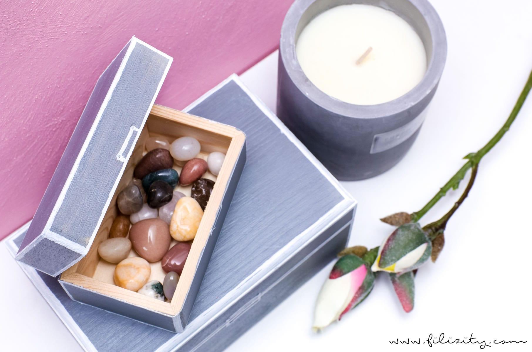 Moderne Deko selber machen: DIY Aufbewahrungsboxen aus Holzschachteln basteln | DIY Skandi-Deko | Filizity.com | Interior- & DIY-Blog aus dem Rheinland