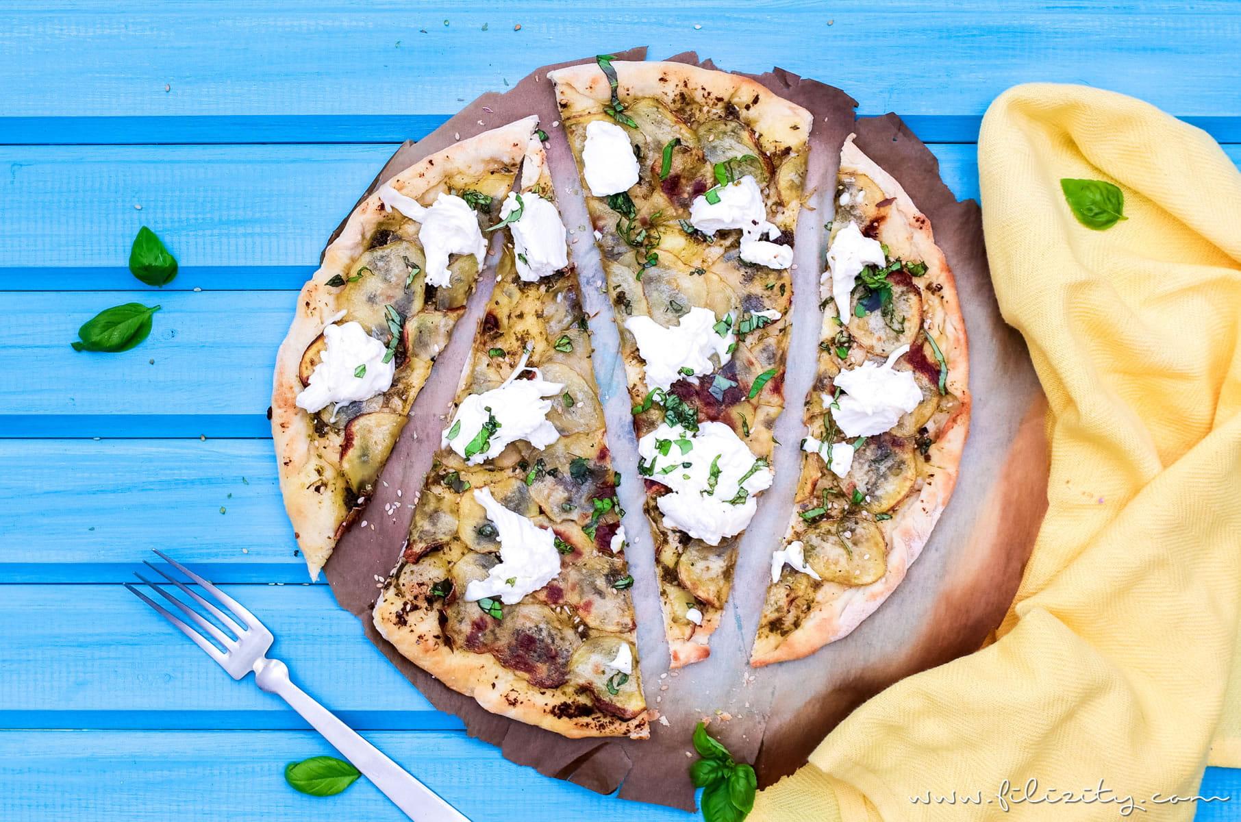 Kartoffel-Pizza mit Pesto  – Mein bestes Rezept (auch vegan)