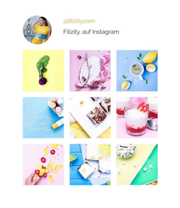 DSGVO-konformes Instagram Widget Mockup, responsive & für alle Seiten (WordPress, Blogger, …). Binde deine Lieblings-Bilder aus deinem Instagram-Account ein. Verlinke zum Bild und Account. Anpassbar inkl. Anleitung.