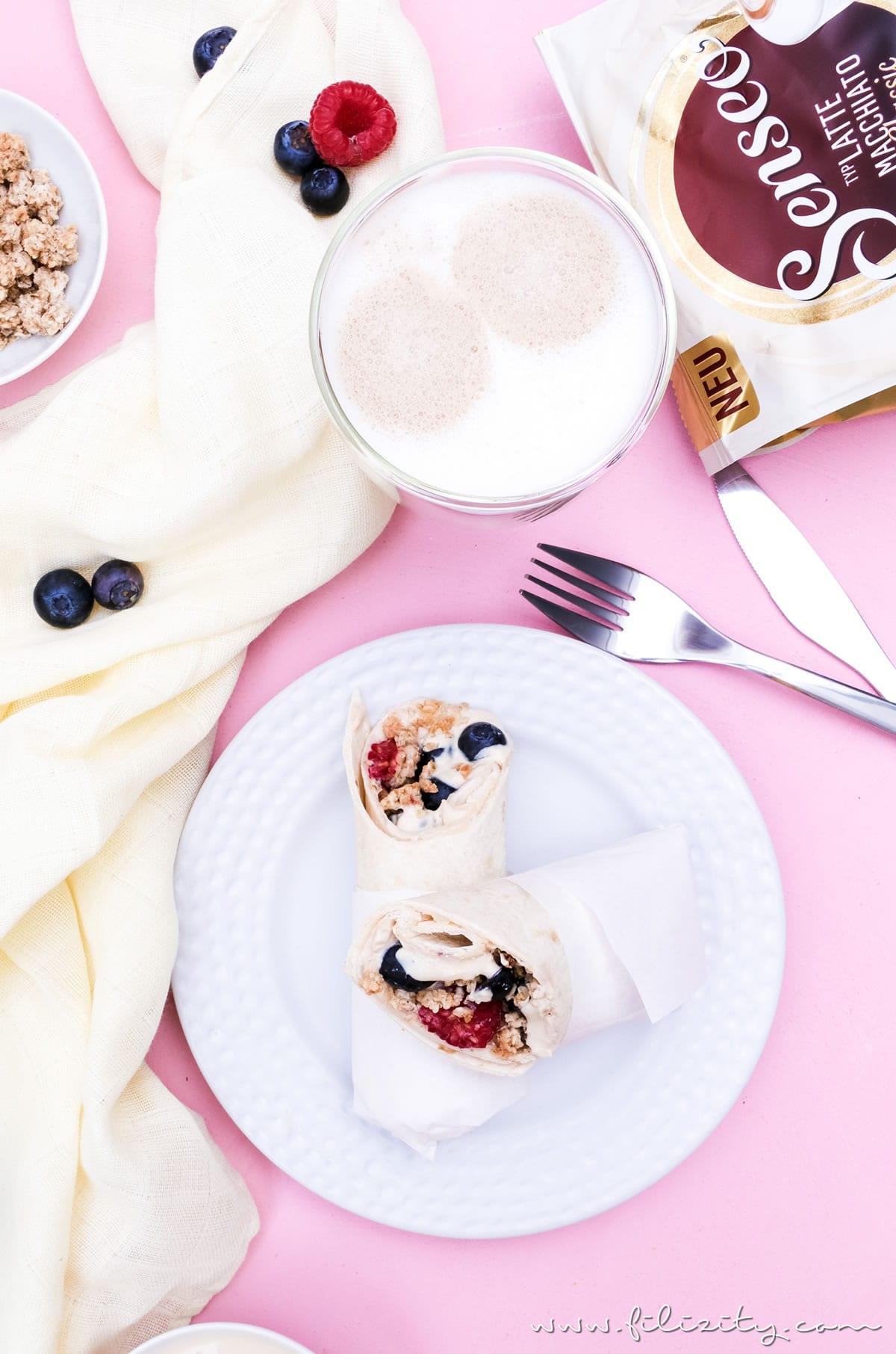 Rezept für Frühstücks-Wraps mit Kaffee-Quark und Beeren - Genussmomente mit SENSEO® + GEWINNSPIEL | Filizity.com | Food-Blog aus dem Rheinland #perfektinjederlage #senseo #lattemacchiato