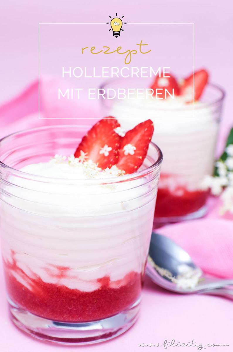 Holunderblüten-Creme (Hollercreme) mit Erdbeer-Swirl - Einfaches Sommer-Dessert aus nur 4 Zutaten | Filizity.com | Food-Blog aus dem Rheinland #holler #sommer