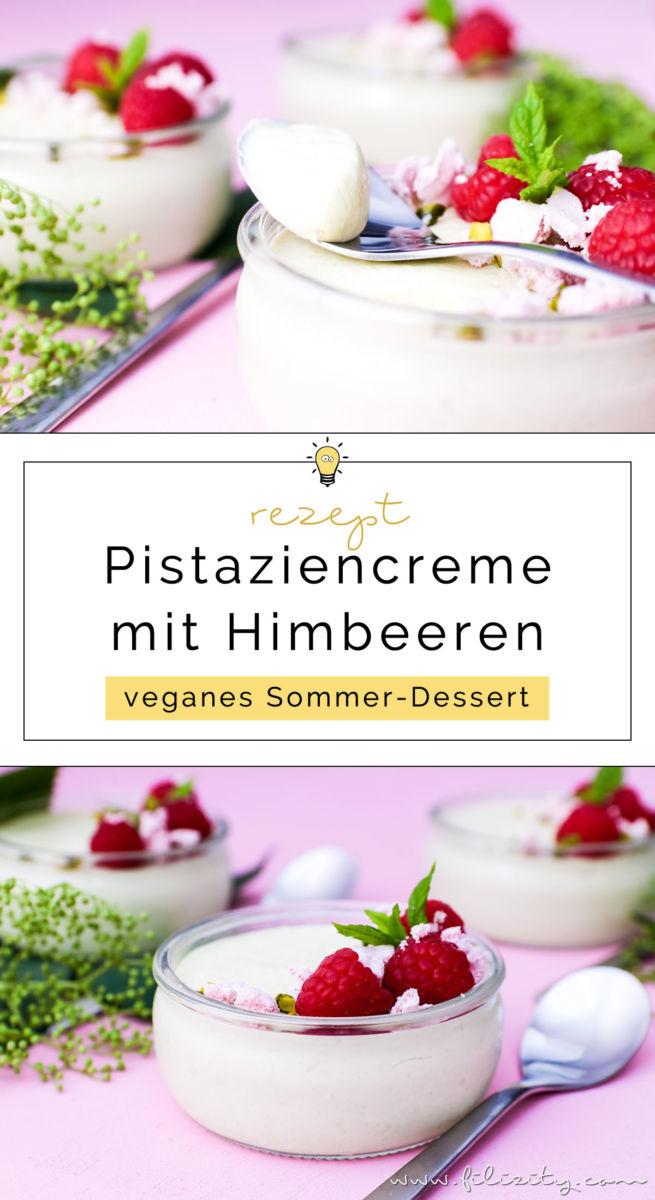Rezept für vegane Pistaziencreme mit Himbeeren und Baiser | Perfektes Dessert-Rezept für Sommer | Filizity.com | Food-Blog aus dem Rheinland #vegan #veggie #dessert