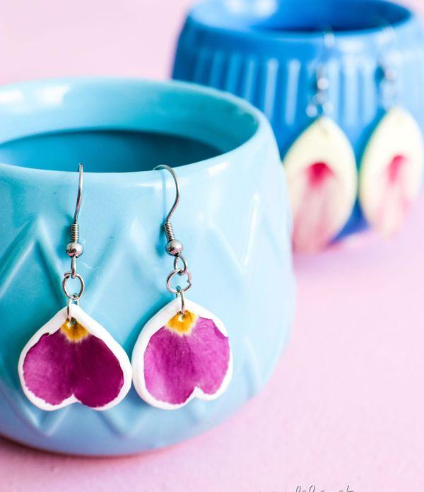 DIY Fimo-Ohrringe mit Blumen selber machen