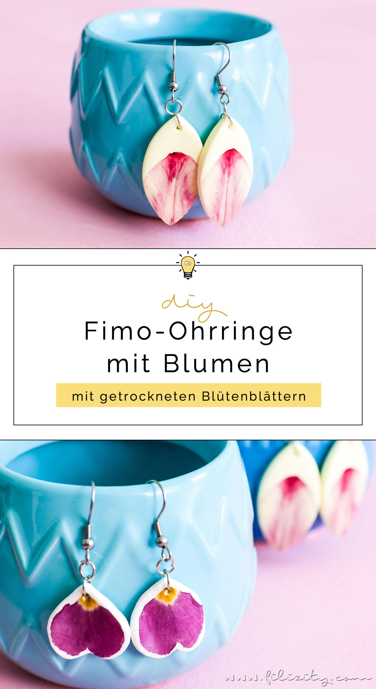 DIY Fashion: Fimo-Ohrringe mit getrockneten Blumen selber machen | Filizity.com | DIY-Blog aus dem Rheinland #myFimo #fimo