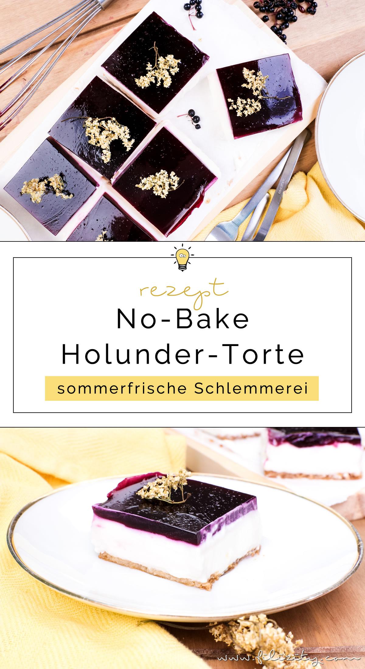 Rezept für leckere Holunder-Quark-Schnitten ohne Backen (No-bake Holunderbeeren-Torte) auf Filizity.com | Food-Blog aus dem Rheinland #holunder #holler #torte #nobake #kuchen #sommer #herbst