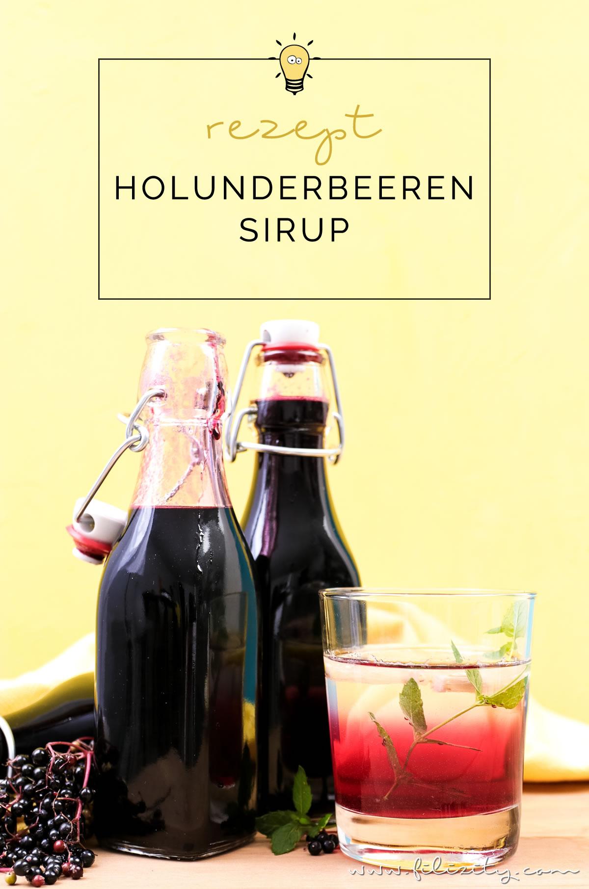 Holunderbeeren-Sirup / Fliederbeerensirup einkochen für Getränke & mehr - Mit diesem Rezept geht es ganz einfach! | Perfekt als Geschenk oder als Vorrat für den Winter! | Filizity.com | Food-Blog aus dem Rheinland #holunder #einkochen