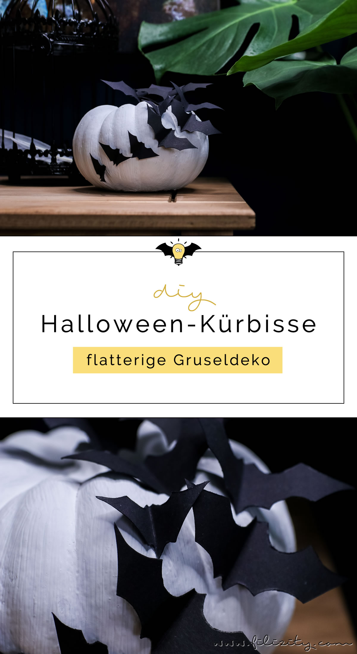 diy halloween deko selber machen k rbisse mit flederm usen diy blog aus dem. Black Bedroom Furniture Sets. Home Design Ideas