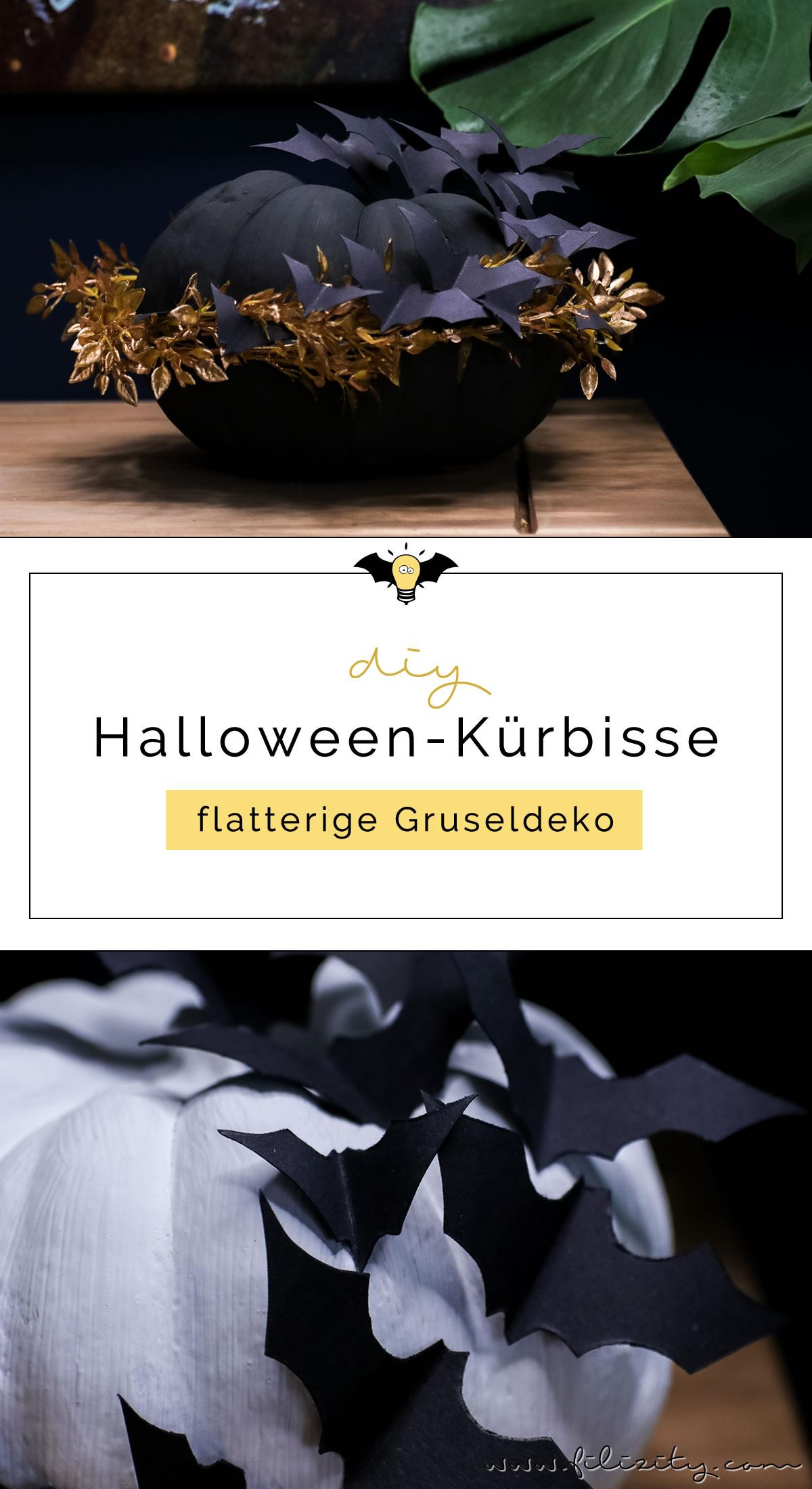 DIY Halloween-Deko selber machen: Kürbisse mit Fledermäusen | Filizity.com | DIY-Blog aus dem Rheinland #halloween #booh #kürbis #styleyourkürbis