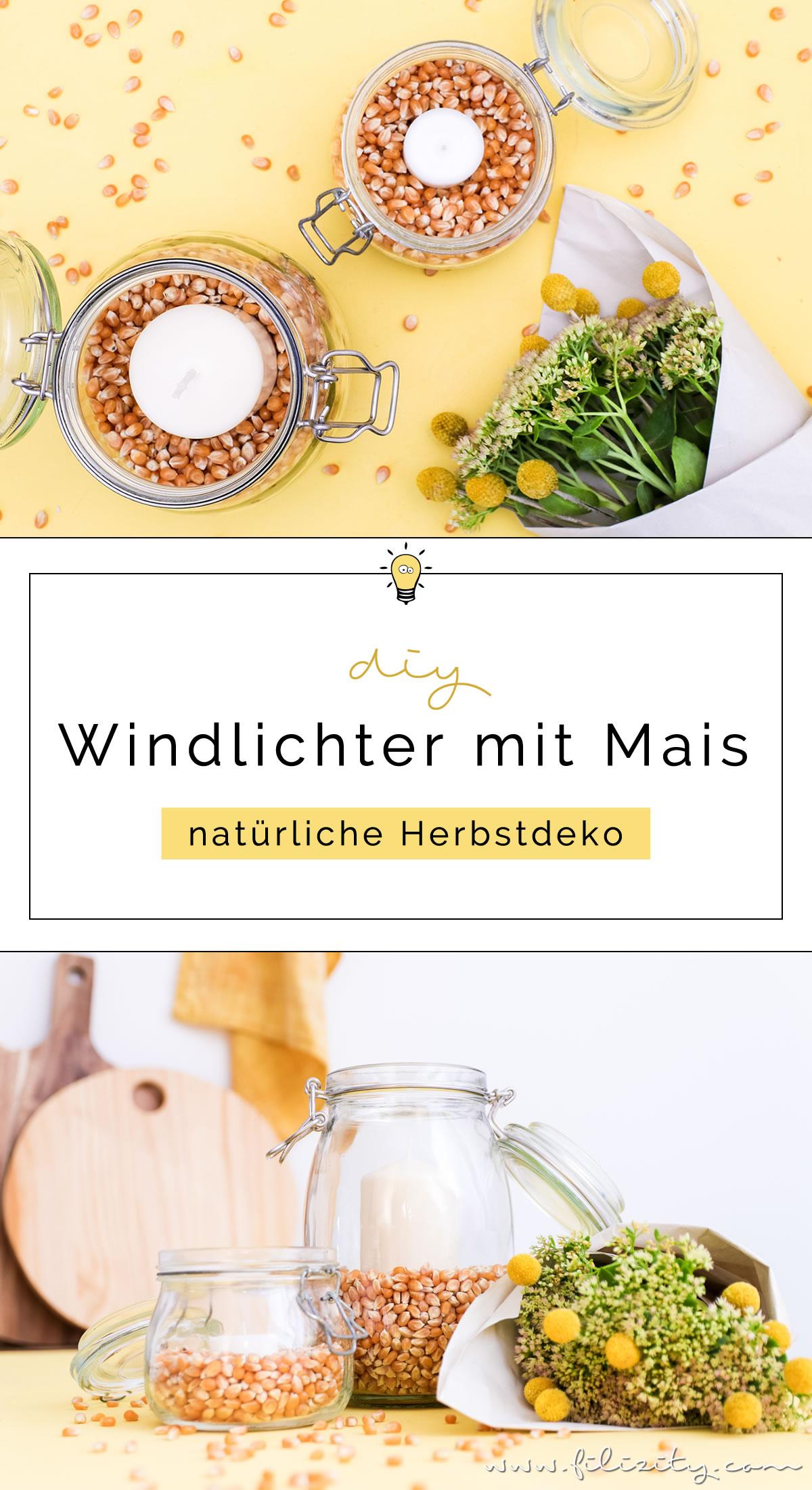 DIY Windlichter mit Maiskörnern - So kannst du natürliche Herbstdeko selber machen | Basteln mit Kindern | Filizity.com | DIY-Blog aus dem Rheinland #herbst #deko #natur