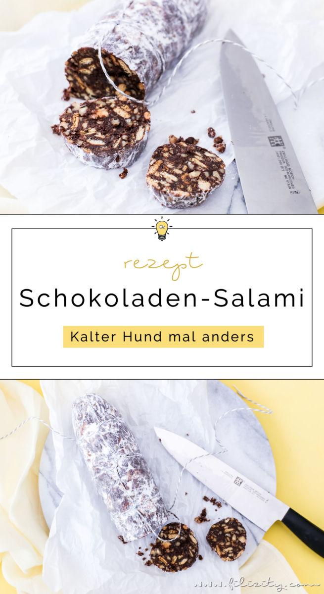 Schokoladen-Salami (Schoko-Wurst, Süße Wurst, Salame di cioccolata) selber machen | no-bake Kuchen-Alternative | Kalter Hund mal anders - besonders lecker im Herbst & Winter | Filizity.com | Food-Blog aus dem Rheinland #kalterhund #schokolade #nobake #kuchen #salami #dessert